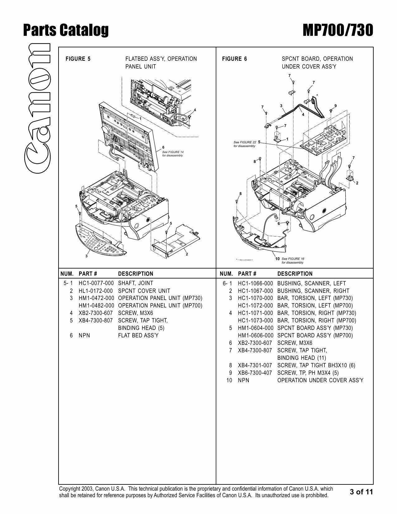 Canon PIXMA MP700 MP730 Parts Catalog Manual-4
